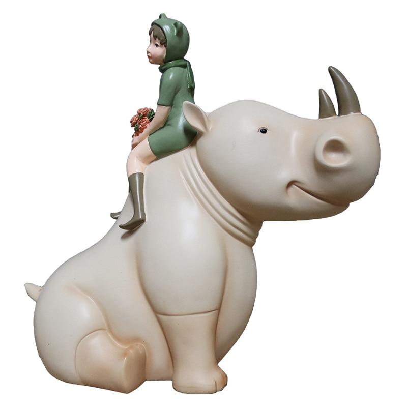 Europe Rhinoceros Cute Girl Figurines Miniatures Creative Home Desktop Decoration Wedding Accessories Resin Crafts