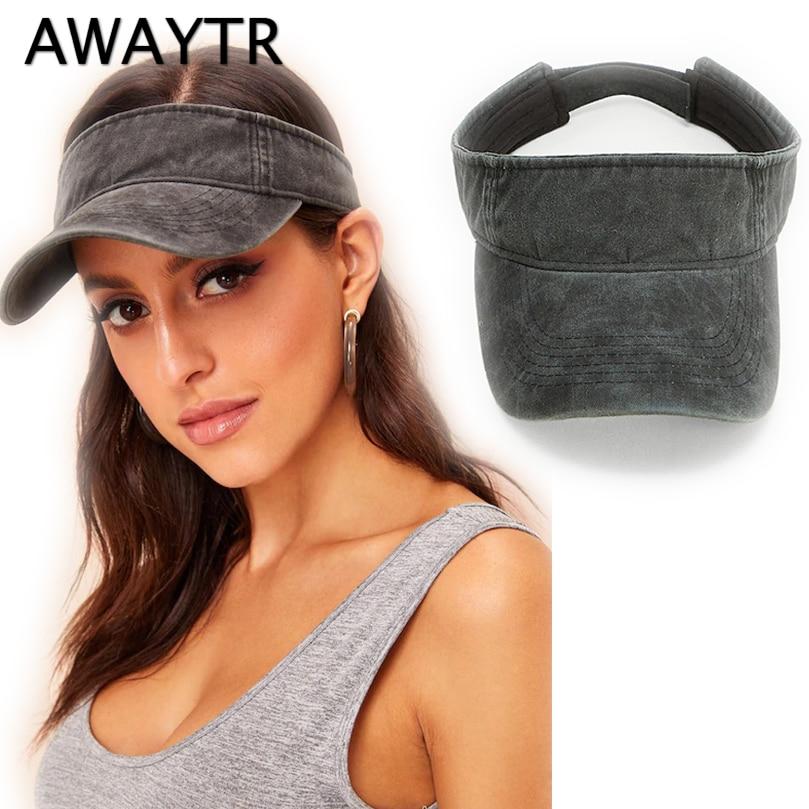 AWAYTR New Fashion Women Demin Visor Sun Hat Cap Adjustable Golf Visor Sun Hat Cap For Women Men Empty Top Hat Sport Headband