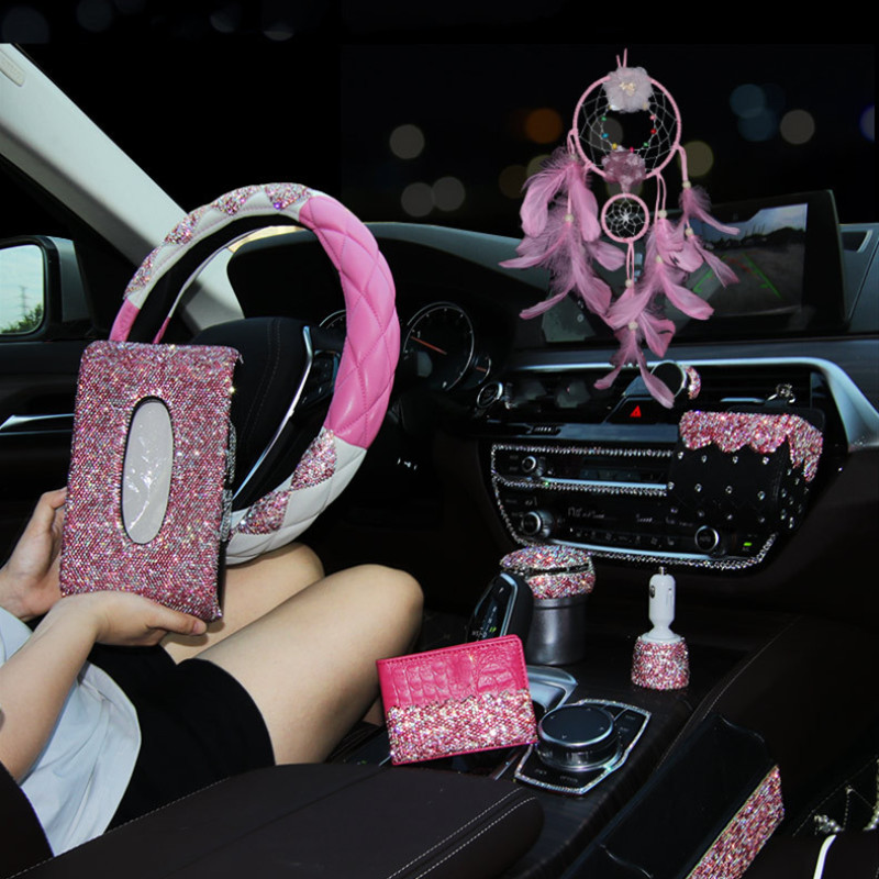 car accessories for girls usb car charger tissue box holder Ashtray pink diamonds woman auto styling kit interior parts