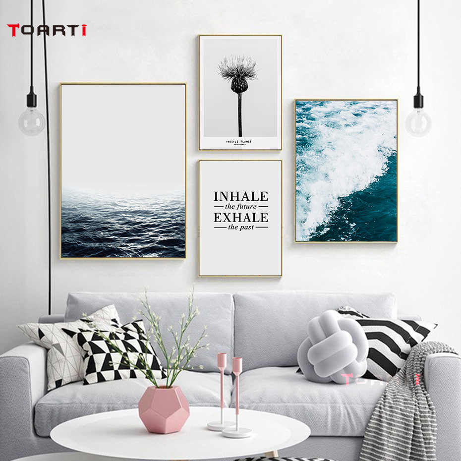 Beautiful Scenery Sea Ocean Posters Prints Thistle Flower Canvas Painting Inhale & Exhale Quote Wall Art Living Bedroom Decorati