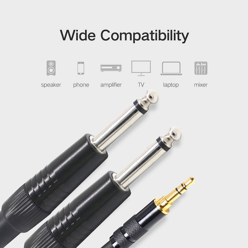 3.5mm to Dual 6.35mm Audio Cable Stereo Y-Splitter Earphone Line For PC Laptop 1m 1.5m 2m