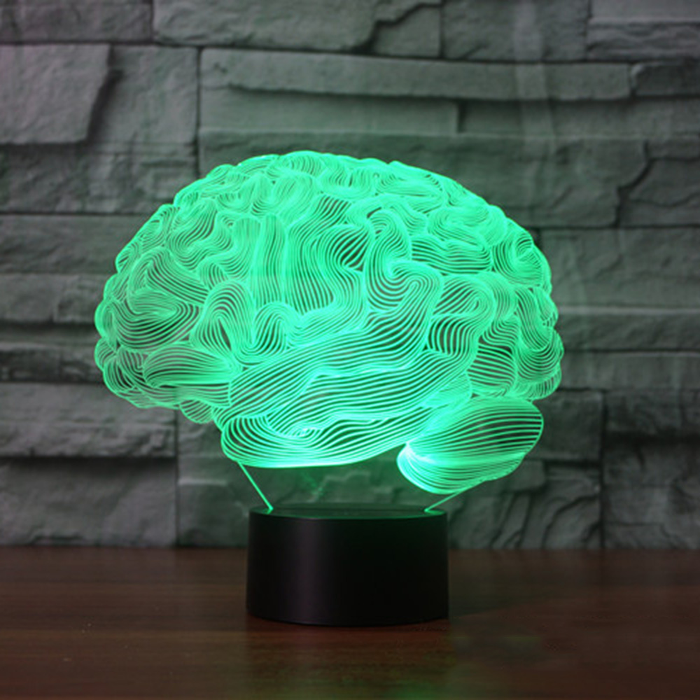 Brain Shape 3D Illusion Lamp 7 Color Change Touch LED Night Light Acrylic Novelty Lighting children bedroom Desk Lamp цена