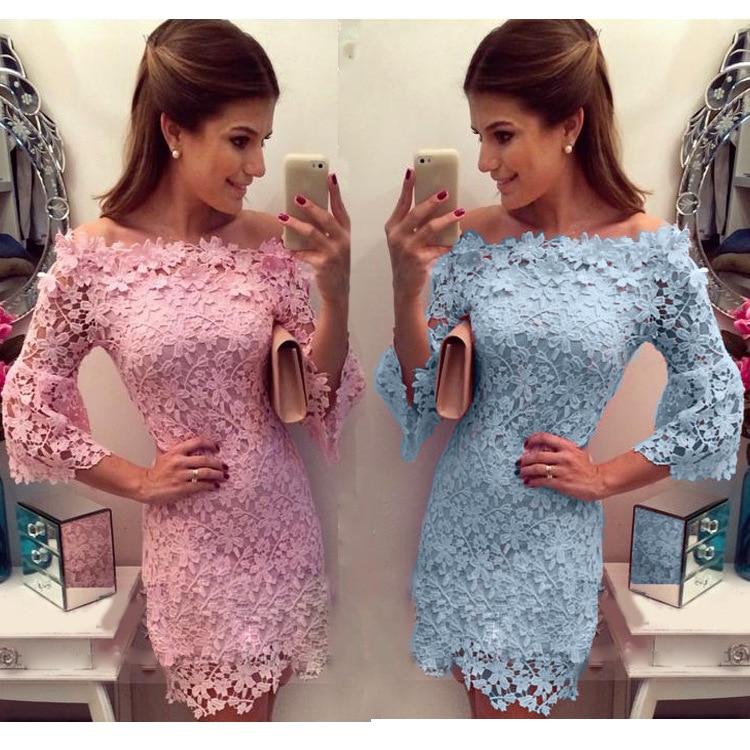 2016 New Arrivals sexy lace slash neck dress vestidos femininos Women s Clothing Women dress