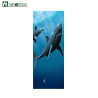 Maruoxuan החדש 3D מדבקות דלת קרקעית ים כריש בעלי חיים רקע סלון חדר שינה מדבקות דלת מדבקות קיר דקורטיבי PVC
