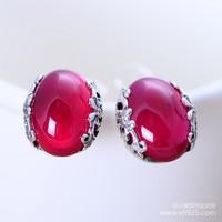 925 sterling silver jewelry red corundum Guteng flower ear buckle female models