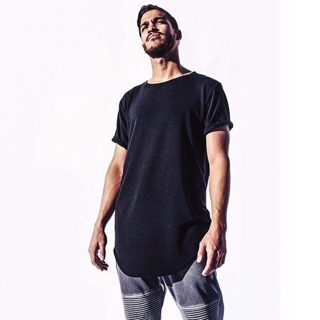 3324bb52a20 2018 hombre grande alto ropa diseñador Citi tendencias ropa hip hop  camiseta Homme curvado hem camiseta
