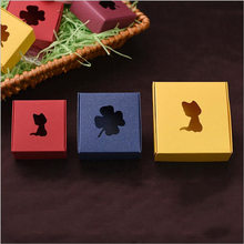 5pcs/lot 3 sizes kittens and leaves handmade soap paper box customizable gift cowhide color