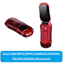 Flip Car Shaped Mini Mobile Phone NEWMIND F15 Dual SIM Card FM Radio Bluetooth LED 1500mAh 1.77Inch Feature Cell Phone