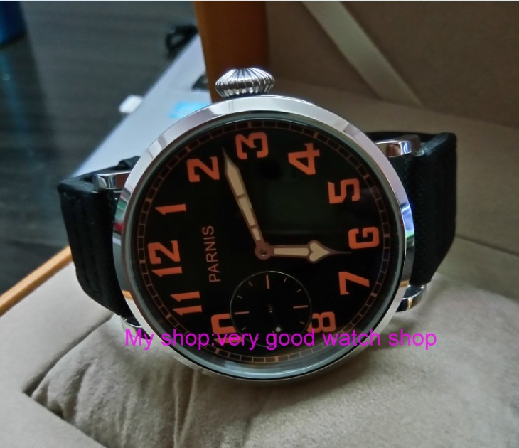 46mm parnis Black dial Asian 6497 17 jewels Mechanical Hand Wind movement men watch luminous Mechanical watches zdgd191a