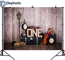 DePhoto Violin Suitcase Wood Wall Baby Birthday Party Photography Backgrounds Custom Photographic Backdrops For Photo Studio(China)
