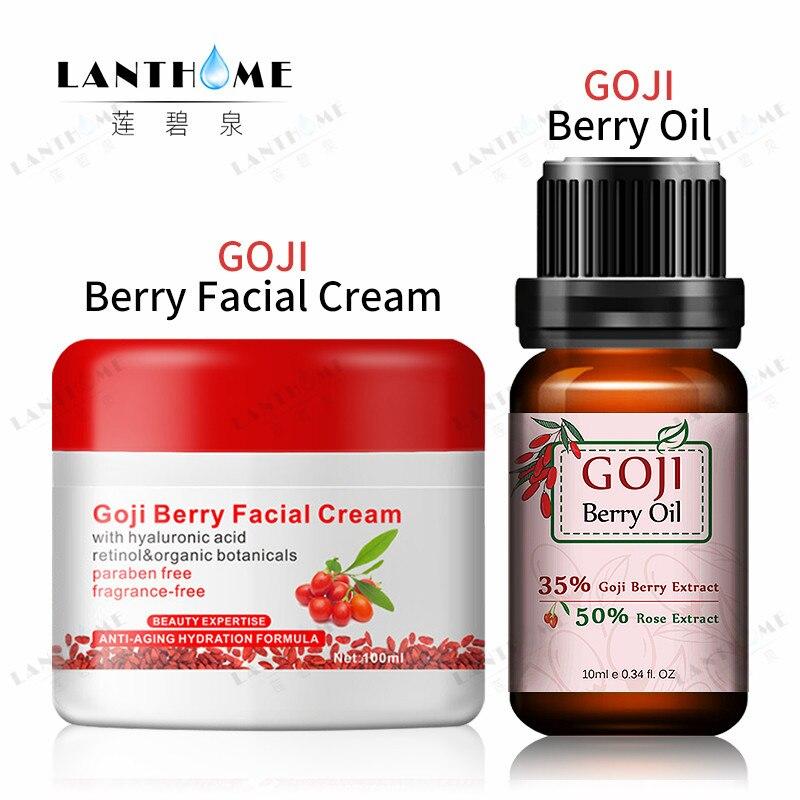 Lanthome Goji berry crème pour le visage Acide Hyaluronique de Goji Berry Essentian Huile moistruizing et anti-rides soins du visage ensemble