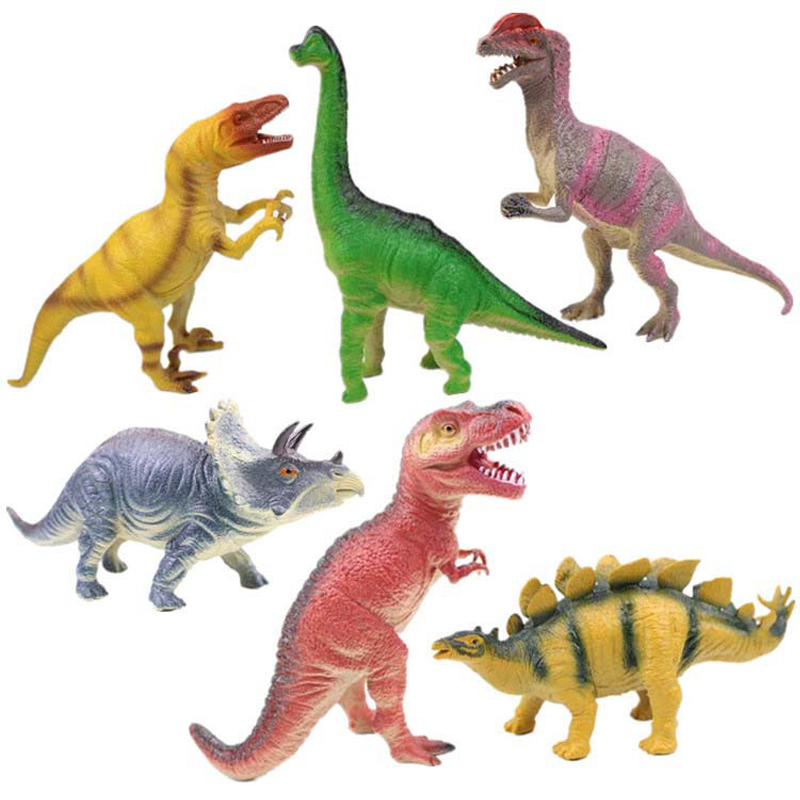 6 pcs/set World Dinosaur Plastic Sound Models Figure Cartoon Toys For Children Dinosaur Size: 15CM-23CM