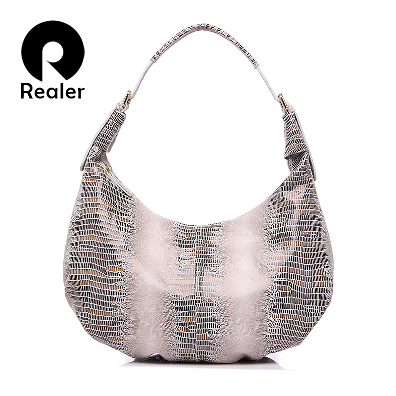 REALER New design handbag genuine Leather bag female Fashion animal pattern Hobo