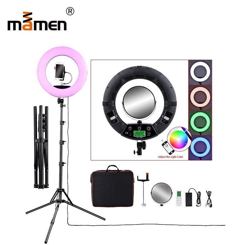 96W Mamen Ring Light 2800-10000K 4800lm 480pcs LED Lamp Phone Control Photography Lighting Photo Studio Video Camera LED Light96W Mamen Ring Light 2800-10000K 4800lm 480pcs LED Lamp Phone Control Photography Lighting Photo Studio Video Camera LED Light