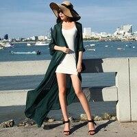 Customize Summer New Fashion Women All Match Plus Size Max Long Sunscreen Clothing Ladies Chiffon Kimono Cardigan Blouse Top