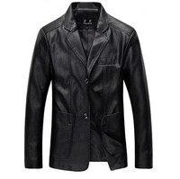 Mens Business Casual Pu Leather Blazer for Men Black Khaki Brown Slim Faux Lether Jacket Pu Blazers Coats Male Plus Size 5XL 6XL