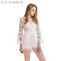 c883ea0e0543 Chicways Floral Lace Romper Skinny Sexy lace Summer jumpsuit romper Women  hollow out 3 4