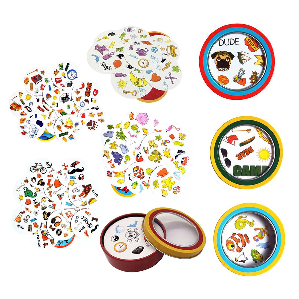 Cards-Game Metal-Box Activities English-Version Party Education-Toys Family 80mm Symbol