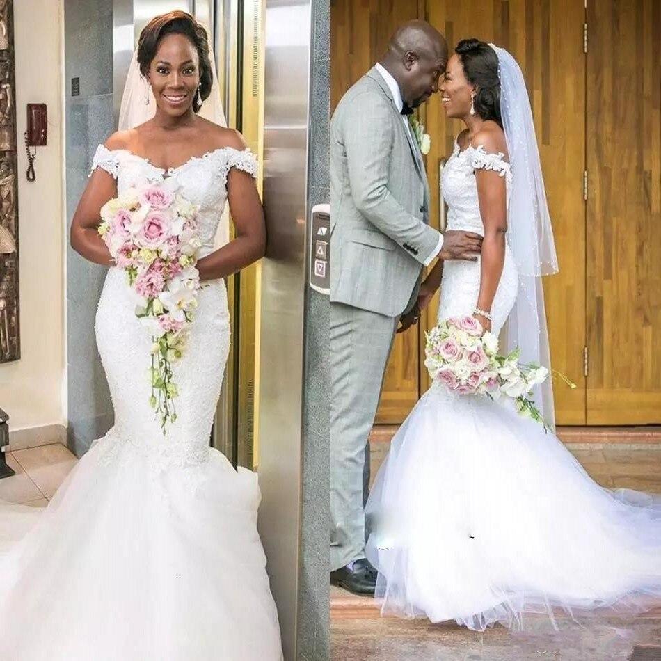 2019 Robe De Mariee Vintage Mermaid Wedding Dress V Neck Off Shoulder Lace Applique Bride Dresses Long Wedding Gowns Tulle