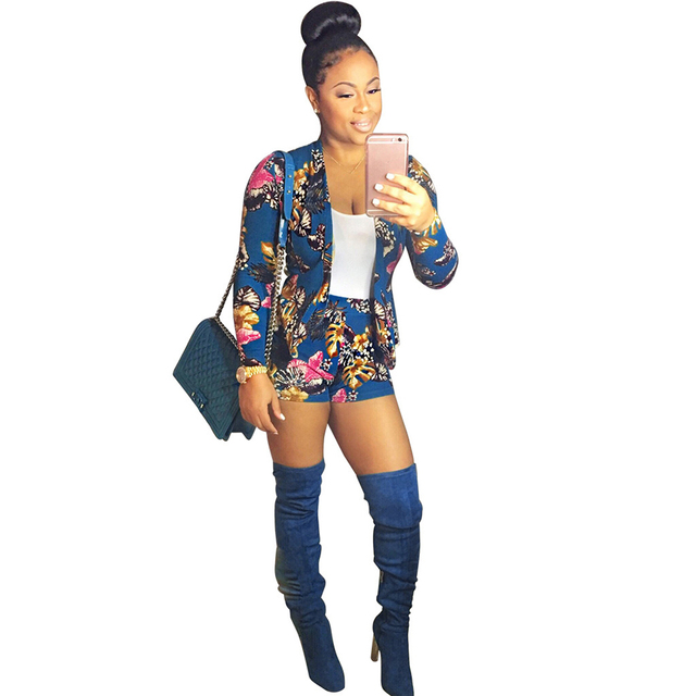Autumn Floral Print OL Blazer Shorts Women Suit Set Casual Outwear Long Sleeve Spring Jacket Shorts Two 2 Piece Clothes Set 2019