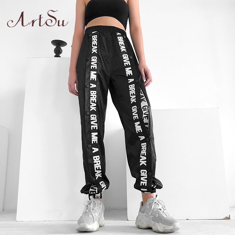 ArtSu Casual Loose Black   Pants     Capris   Elastic High Waist Trousers Women Letter Print Streetwear Sweatpants Joggers ASPA20230