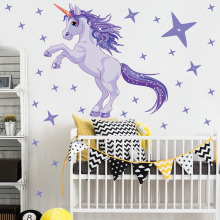 Cute Cartoon Unicorn Purple Horse Stars Wall Sticker Wallpaper Home Room Decor Decal Diy Decals For Kid Girls