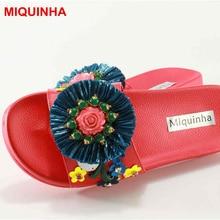 Miquinha Элитный бренд декор металла цветок строка с отделкой бисером женские тапочки Повседневная пляжная обувь уличные Стиль леди Звезда шлепанцы