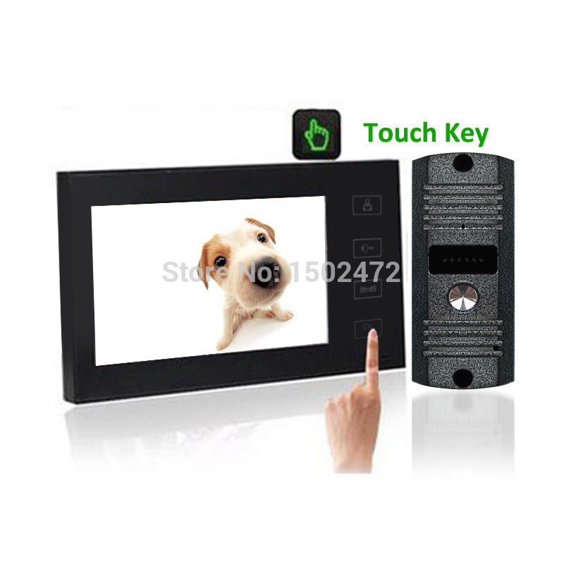 "Fashion 7""Color LCD Touch Key Video Door Phone Intercom Home Safe +Rainproof CMOS Camera"