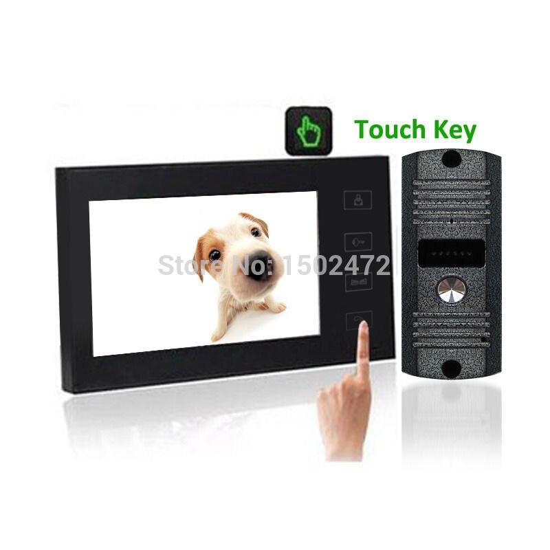 Fashion 7Color LCD Touch Key Video Door Phone Intercom Home Safe +Rainproof CMOS Camera