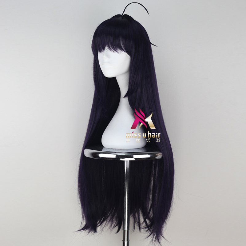 Hair Extensions & Wigs Synthetic None-lacewigs Miss U Hair Girl Synthetic 85cm Long Straight Dark Purple Colorhalloween Hair Cosplay Costume Full Wig Punctual Timing