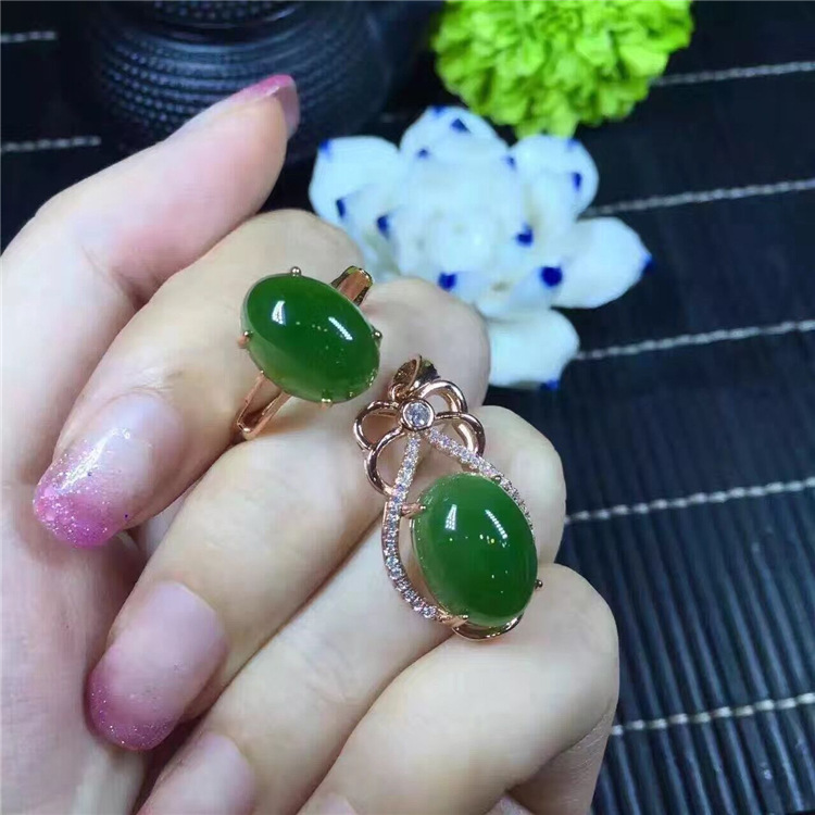KJJEAXCMY boutique jewels 925 925 sterling silver and natural hetian jasper ring + necklace + pendant set silk spider jewelryKJJEAXCMY boutique jewels 925 925 sterling silver and natural hetian jasper ring + necklace + pendant set silk spider jewelry