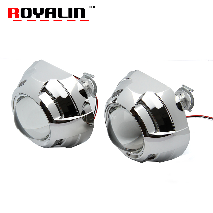ROYALIN Car Styling 7.1 8.1 Version Mini Bi Xenon H1 Projector Headlights Lens H4 H7 Auto Motor Lamp DIY shroud for Apollo 2 retrofit headlights cover 2 5for h1 mini projector lens silver gatling gun shroud [qp379]