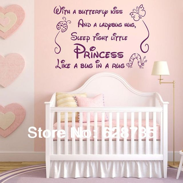 Beautiful With A Butterfly Kiss Wall Stickers For Kids Rooms Girl Removable Art Vinyl Nursery  Decor Baby Part 27