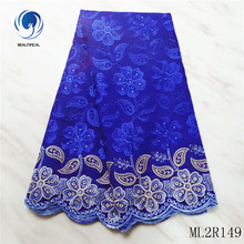 BEAUTIFICAL Voile Lace Embroidery 2019 Flower Fabric African Blue Sewing ML2R149