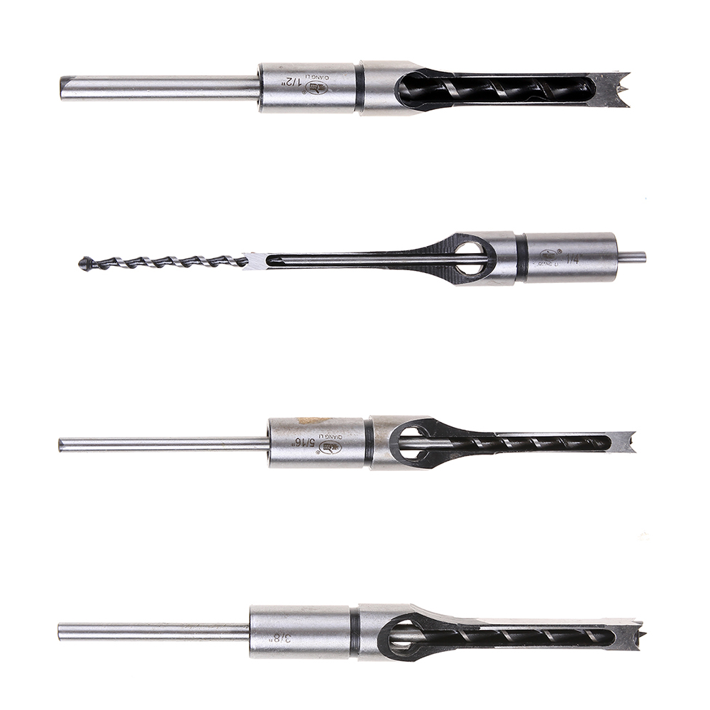 Professional Drill Bit Woodworking Tool Ferramentas Mortising Chisel 4pcs/set Drill for Square Hole Extended Saw Set 1/4-1/2 In