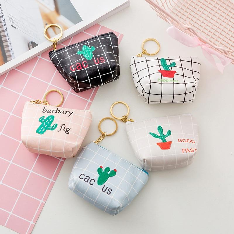 Laamei Cute Cactus Coin Purse Girls Short Zipper Mini Wallet Cartoon Letters Coin Storage Money Bag Purses With Key Holder new