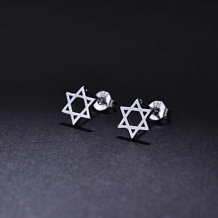 Heißer Verkauf Frauen Silber Farbe Hochzeit Schmuck Set Boucle D'oreille Jüdische Stern von David Halsband Halskette Ohrring Sets