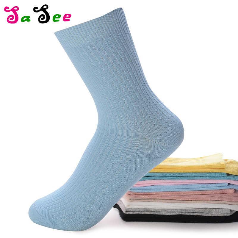 Лидер продаж, новые милые зимние женские хлопковые носки чистого цвета, милые однотонные носки для девочек, Короткие осенние носки высокого качества