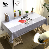 Dream NS American Country Table Cloth Red Lips PVC Waterproof Oilproof Stylish Decorative Tablecloth Home Creative Tablecloth