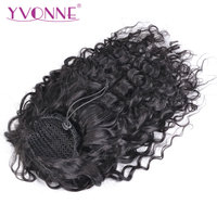 Yvonne Brazilian Italian Curly Drawstring Ponytail Human Hair Clip In Extensions Virgin Hair Natural Color 1 Piece