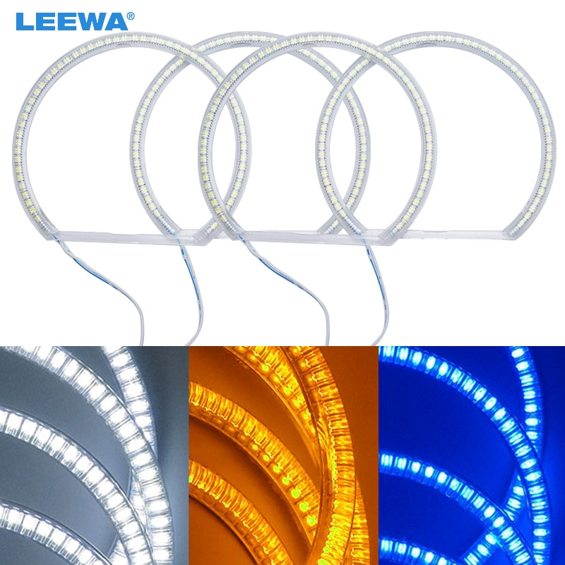 LEEWA 4x131mm Car SMD LED Halo Rings Angel Eyes DRL Head Lamp For Lada VAZ <font><b>2106</b></font> Light White/Blue/Yellow #CA1103 image