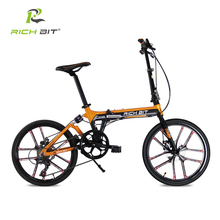 RichBit Mini 20 Inch 7 Speeds Folding Bicycle Heterotype Tube Frame Double Disc Brake City Folding Bike 10 Spokes Folding Bike