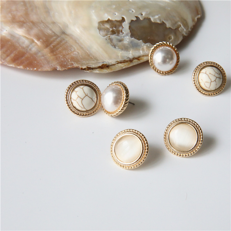MENGJIQIAO 2019 Japan New Vintage Round Marble Opal Stone Big Stud Earrings For Women Fashion Temperament Simulated Pearl Brinco 1