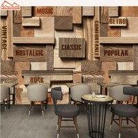 ShineHome Große Kundenspezifisches Foto Tapeten Europäischen 3d Wohnzimmer Retro Holzplatte Muster Café Bar Shop Wandtapete rollen