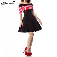 IShine 2017 Women 50s 60s Striped Button Pin Up Vintage Dress Vestidos Retro Off Shoulder Evening