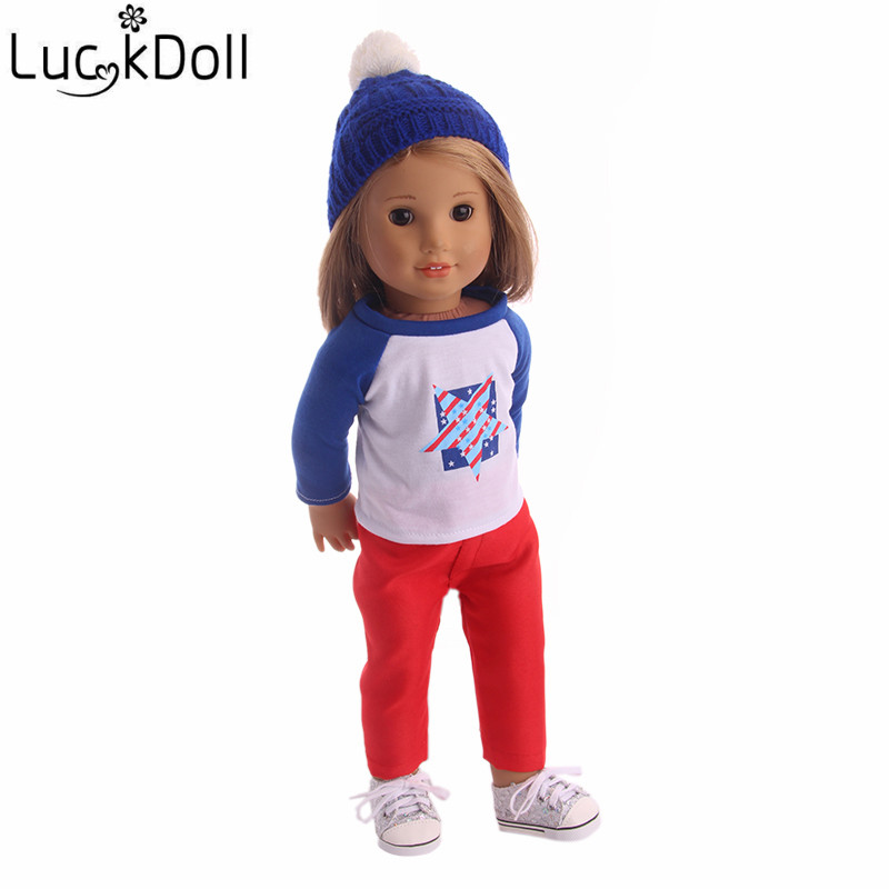 LUCKDOLL Fashion Casual Clothes+Hat Fit 18 Inch American 43cm Baby Doll Clothes Accessories,Girls Toys,Generation,Birthday Gift