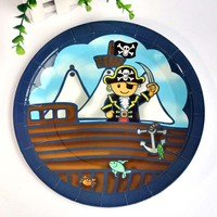 Free Shipping 16pcs Lot Pirate Theme Paper Plates Birthday Party Plates Disposable Dinner Plates 9 Inches
