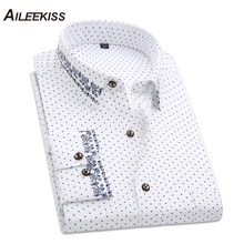 2018 Solid Men Polka Dot Long Sleeve Shirts Casual Men's Clothing Plus Size Printed Dress Man Shirts Business Party Shirts XT402