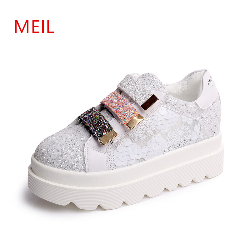 Summer Ladies Platform Flat Shoes Women Breathable Thick Soled Sneakers Loafers Leather Flats Slip On Shoes For Women Creepers women cartoon loafers 2015 casual canvas flats shoesladies trifle thick soled creepers footwear mujer zapatos