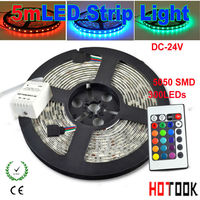 5M 5050 24V RGB LED Strip Lighting Waterproof Flexible Light stripe IP65 String Tiras with 24key Dimmable Remote Controller